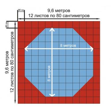 Корт (додянг) восьмиугольный для тхэквондо тренировочный