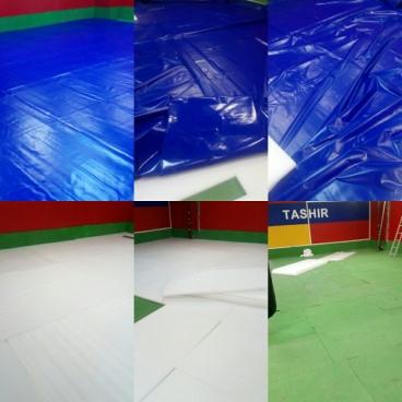 Борцовский ковёр 12х12х0,05м,Одноцветный в комплекте с матами